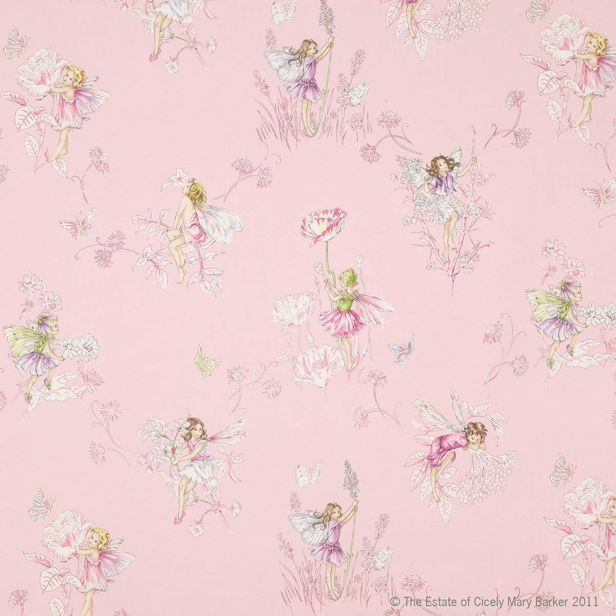 Meadow flower fairies fabric pink j647f 02 jane for Floral nursery fabric