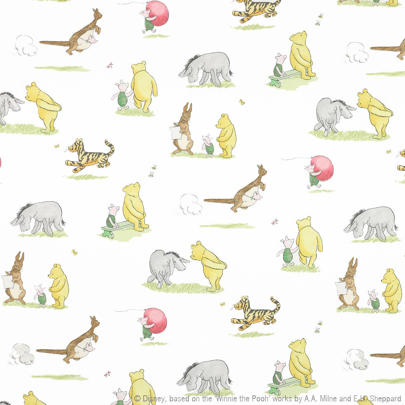 Roman blinds in winnie the pooh friends fabric for Nursery fabric uk