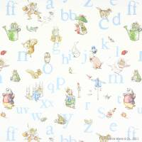 Alphabet Beatrix Potter Fabric - Blue