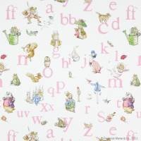 Alphabet Beatrix Potter Fabric - Pink