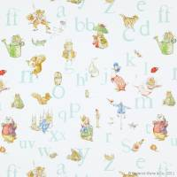 Alphabet Beatrix Potter Fabric - Aqua