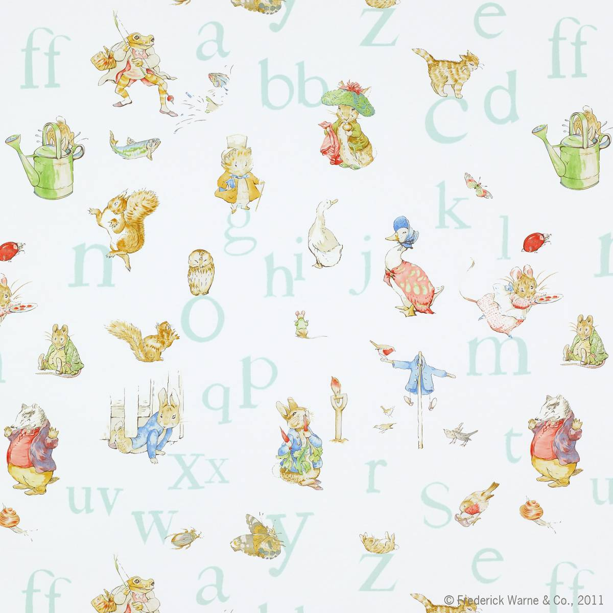 Curtains in alphabet beatrix potter fabric aqua j650f for Nursery fabric