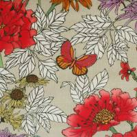 Tamarinda Fabric - Beige/Red
