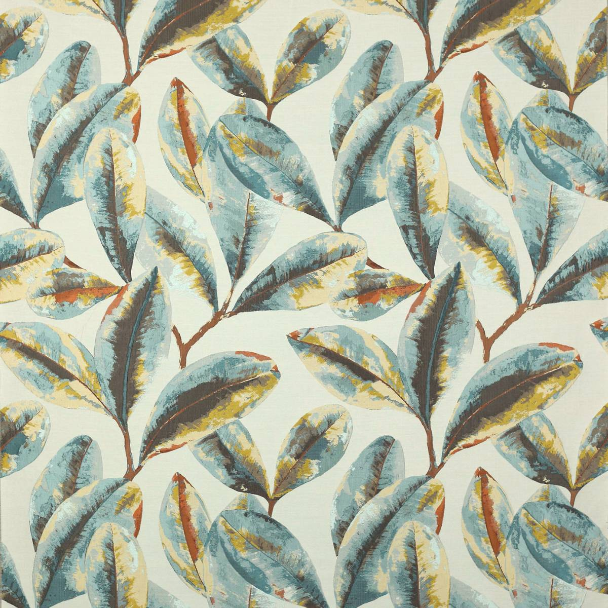 Bahia Fabric Teal Copper J941f 01 Jane Churchill