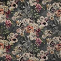 Marble Rose Fabric - White/Charcoal
