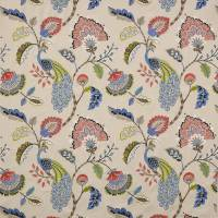 Jaipur Peacock Fabric - Blue/Soft Reds