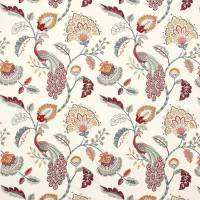 Jaipur Peacock Fabric - Slate/Red