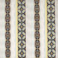 Tapestry Stripe Fabric - Blue/Ochre