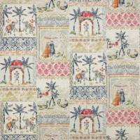 Kashmir Garden Fabric - Blue/Red