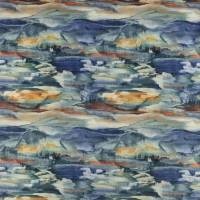 Solace Velvet Fabric - Blue / Copper