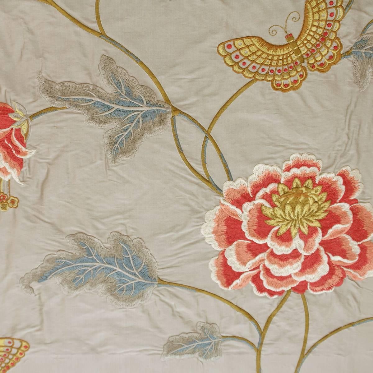 Oriental Poppy Fabric Silver F3302 04 Colefax