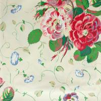 Roses and Pansies Fabric - Red