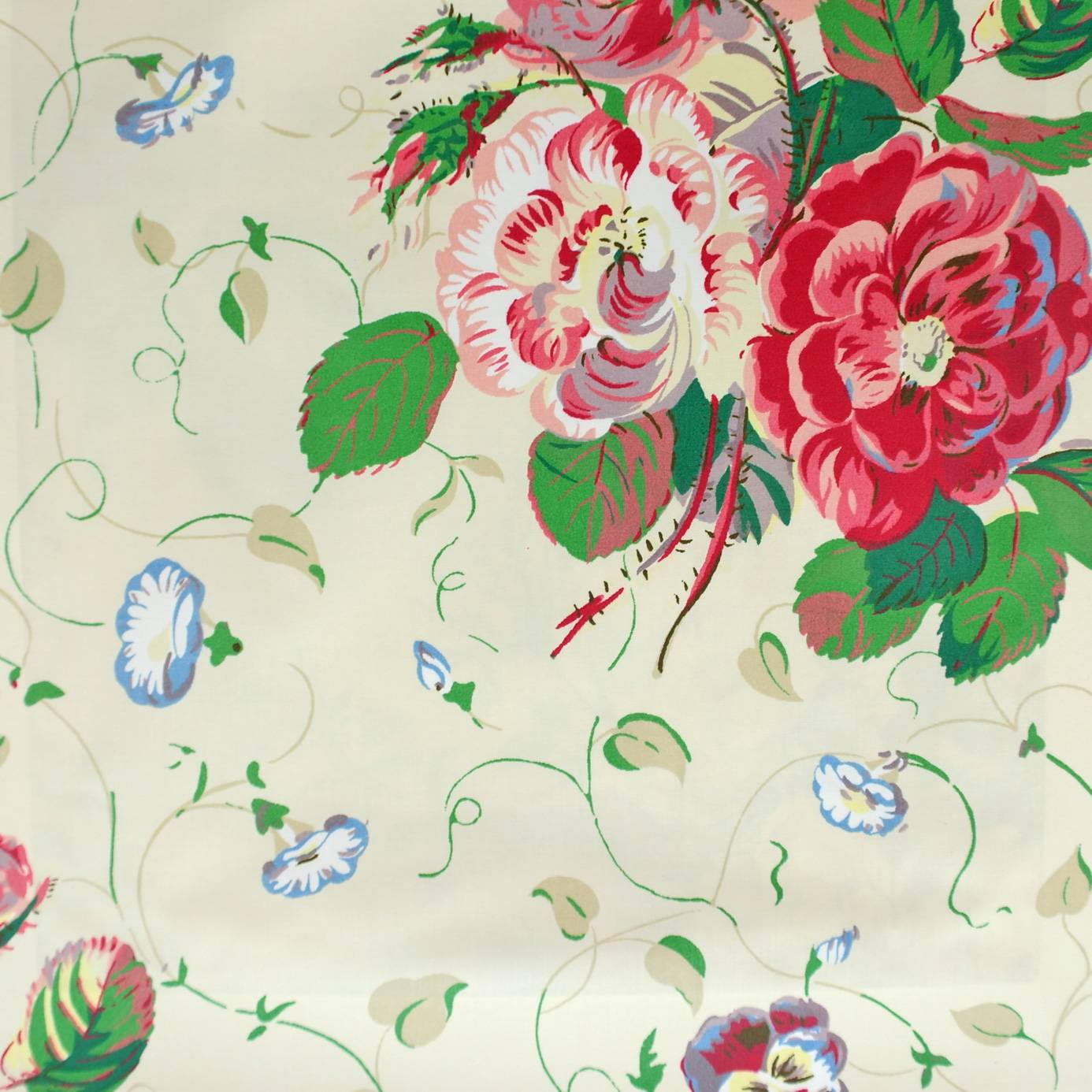 Roses And Pansies Fabric Red 1155 01 Colefax