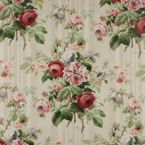 Jubilee Rose Fabric Red Green F1313 03 Colefax