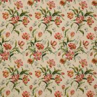Delft Tulips Fabric - Pink/Green