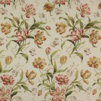Delft Tulips Fabric - Pink/Ochre