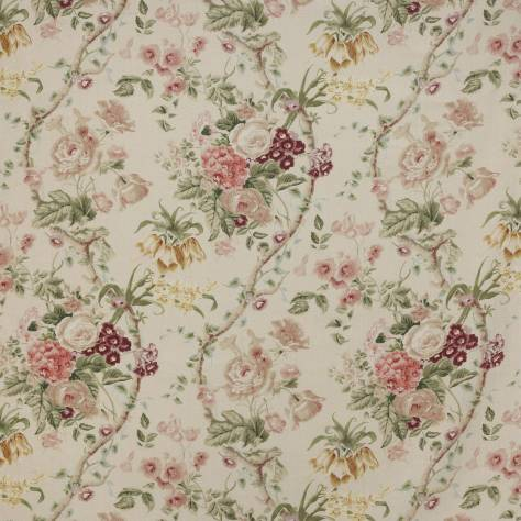 Colefax & Fowler  Leonora Fabrics Monmouth Fabric - Pink / Green - F4659-01