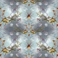 Wild Thistles Fabric - Teal/Flint