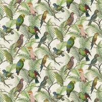 Parrot and Palm Fabric - Azure