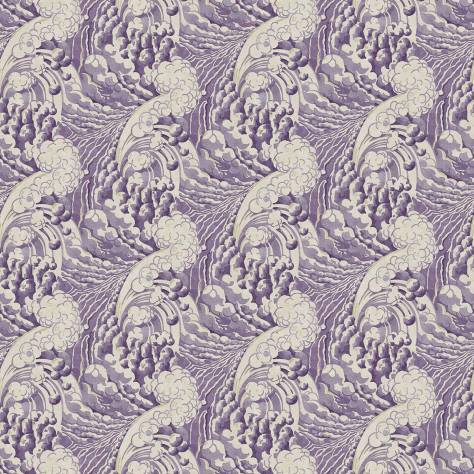 Linwood Fabrics Omega Prints Velvet The Wave Fabric - Mauve - LF2091FR/003