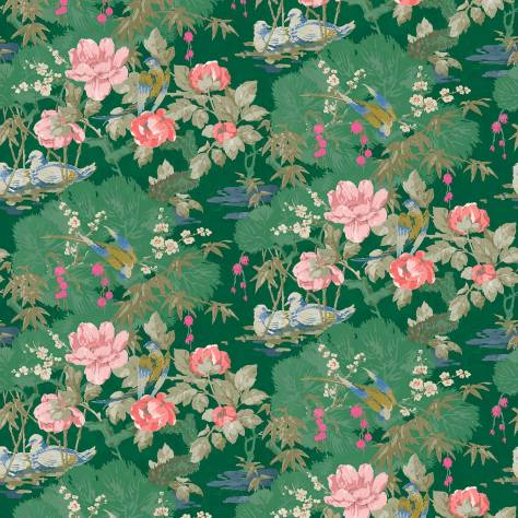 Linwood Fabrics Omega Prints Velvet On the River Fabric - Emerald - LF2096FR/002