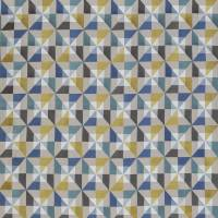 Bussana Fabric - Peacock / Lemon / Forget Me Not