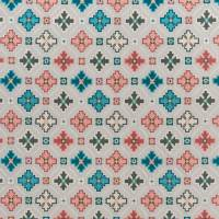 Tarbouche Fabric - Stone / Teal / Blush
