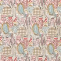 Collioure Fabric - Coral / Duck Egg / Gold