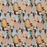 Collioure Fabric - Chocolate / Orange / Blue