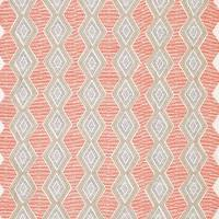 Belle Ile Fabric - Coral / Beige / Chocolate