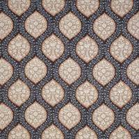 Marguerite Fabric - Chocolate / Beige / Blue
