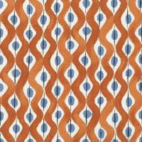 Beau Rivage Fabric - Orange / Blue