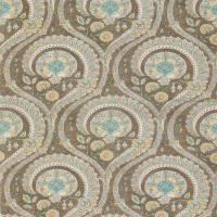 Les Indiennes Fabric - Taupe / Aqua / Yellow