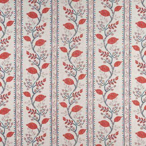 Nina Campbell Ashdown Fabrics Pomegranate Trail Fabric - Red / French Blue / Natural - NCF4360-04