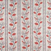Pomegranate Trail Fabric - Red / French Blue / Natural