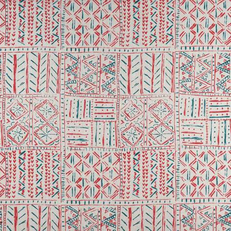 Nina Campbell Ashdown Fabrics Cloisters Fabric - Red / French Blue / Natural - NCF4361-04