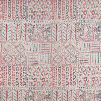 Cloisters Fabric - Red / French Blue / Natural