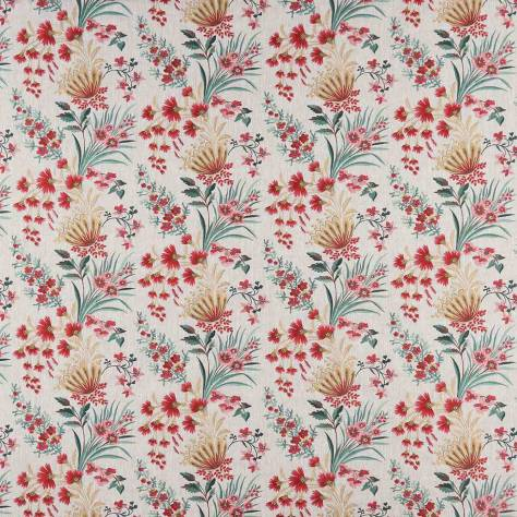 Nina Campbell Ashdown Fabrics Michelham Fabric - Red / Teal - NCF4362-02