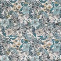 Valldemossa Fabric - Ivory / Sea Blue / Pebble