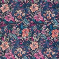 Valldemossa Fabric - Midnight / Coral / Jade