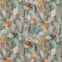 Cactus Garden Fabric - Dark Pebble / Mint / Coral