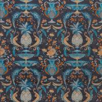 La Fuente Fabric - Smoke / Persian Blue / Ginger