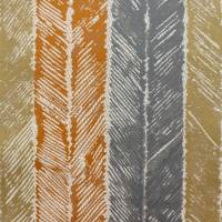 Walchia Fabric - Rust/Jute/Denim