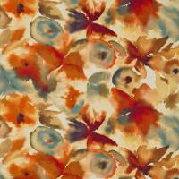 Flores Fabric - Rust/Ruby/Nordic Blue