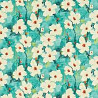 Giverney Fabric - Lagoon/Amber