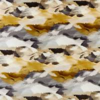 Minako Fabric - Gold / Charcoal