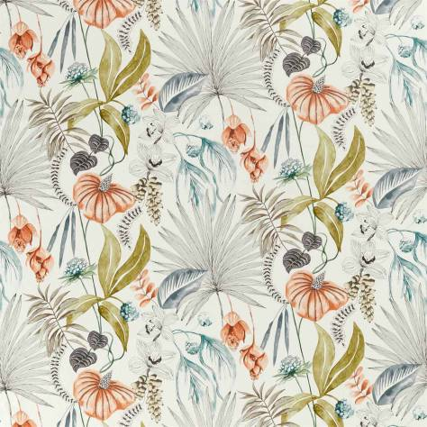 Harlequin Mirador Drapery Fabrics Habanera Fabric - Coral / Harbour / Lime - 120914