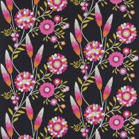 Funky Flowers Fabric - Black/Pink/Orange/Lime