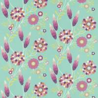 Funky Flowers Fabric - Turquoise/Orange/Lime/Pink