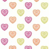 Sweet Hearts Fabric - Lime/Orange/Pink